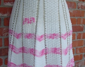 Vintage Apron half style hand crocheted white and pink cotton, women apron, crochet apron, woman apron