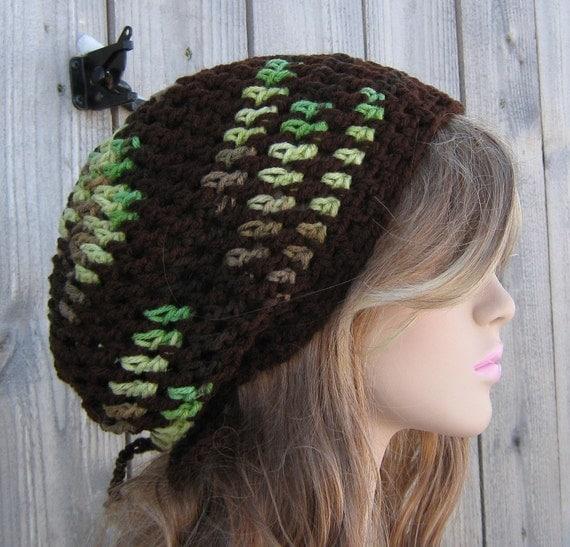 Amazon green brown hippie dreadlock slouchy beanie tam hat
