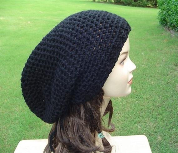 Long black snood tam dreadlock rasta dread tam super slouchy hat, slouchy beanie, slouchy hat, men or women beanie for dreads, unisex tam