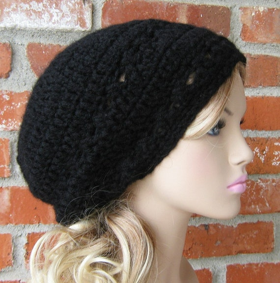 Soft Slouchy Black Tam Dread Hippie Beanie Hat Goth