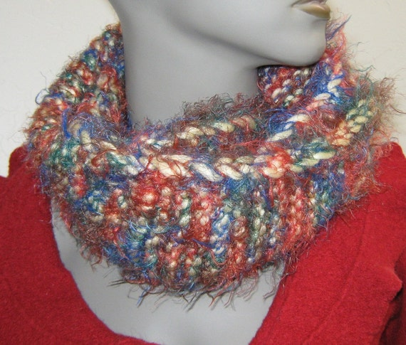 Sale circle scarf, plush neckwarmer scarflette handknit twisted scarf cowl neck cozy warmer, small knitted infinity scarf