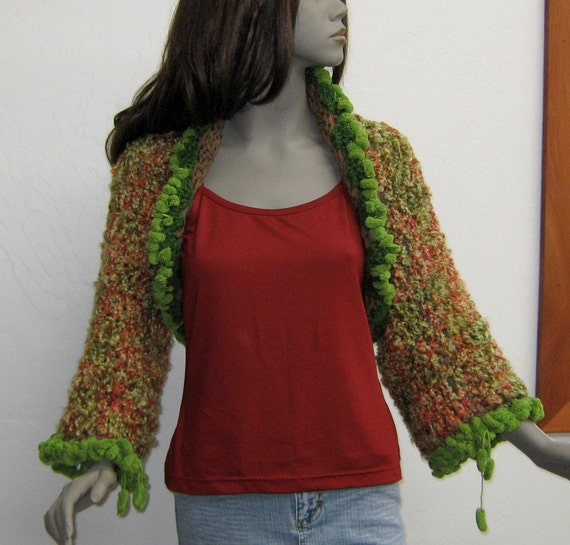 Woodland fae shrug boho bolero sweater vest top warm green domestic shipping included