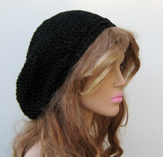 Cotton black Beret hat, Bohemian Artist Hippie Beanie, slouchy beanie, small Dread Tam hat, men women slouchy beanie hat handmade, BoHo hat