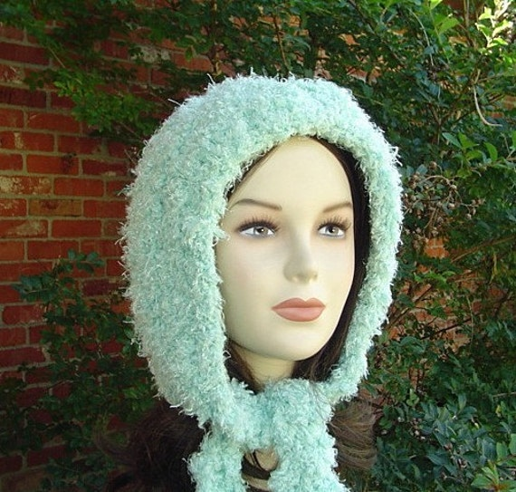 Sale --  Cosy hood bonnet scarf hippie fairy pixie hoodie beanie hat handmade in crochet