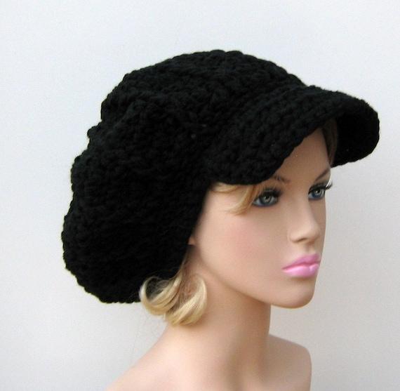 Black Slouchy Newsboy Visor Tam Hippie brimmed beanie Hat