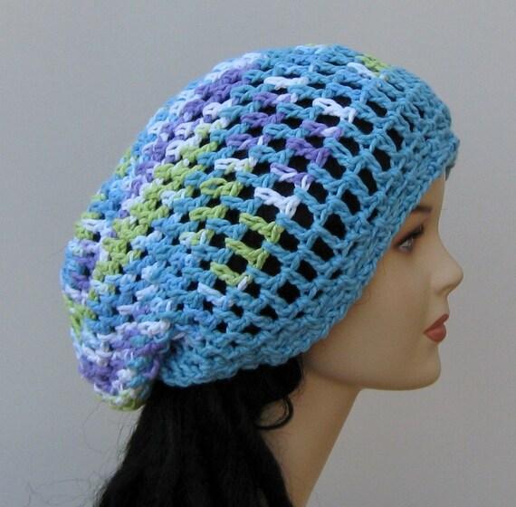 Sale Sea blue Cotton hippie dreadlock slouchy beanie tam hat