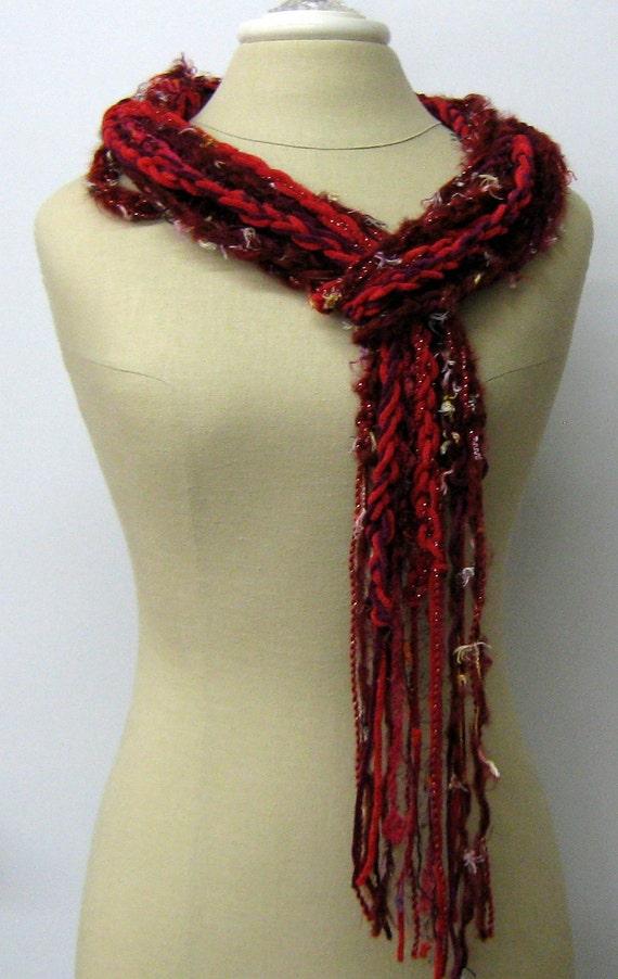 Velvety wine red braids Gypsy Fringe Scarf skinny lariat Hippie neck wear