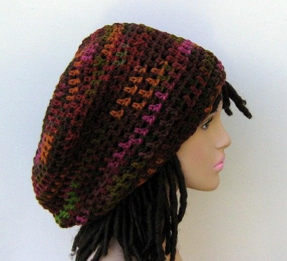 Slouchy hat, Multi Brown Dread Tam hat, Hippie Dreadlocks Hat, Slouchy Beanie hat, woman beanie, Bohemian beanie slouch hat, tam hat, beanie