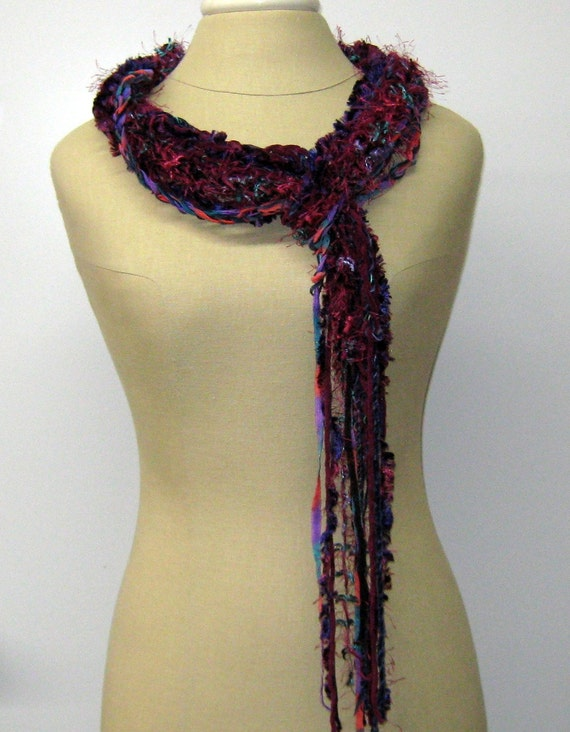 Dark fruit braids Gypsy Fringe Scarf skinny lariat Hippie neck wear