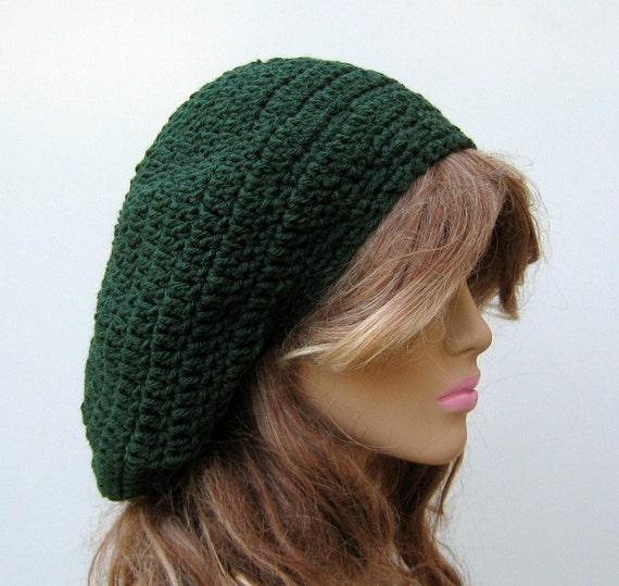 Dark Green Beret Artist Tam Slouchy Dread Hippie Beanie Hat