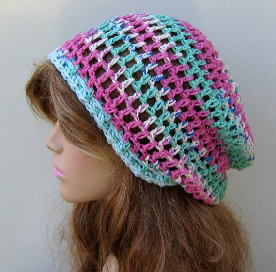 Sale Fairie Light Wool slouchy beanie small hippie dread snood tam hat, pastel beanie, pink teal woman girl beanie hat