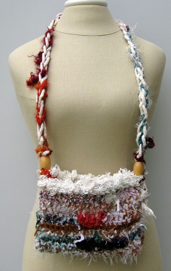 Reserved for bbeydler ---- Sale Crossbody Hippie Festival Mini Bag Patchwork Crochet Purse WITH SARI SILKsa