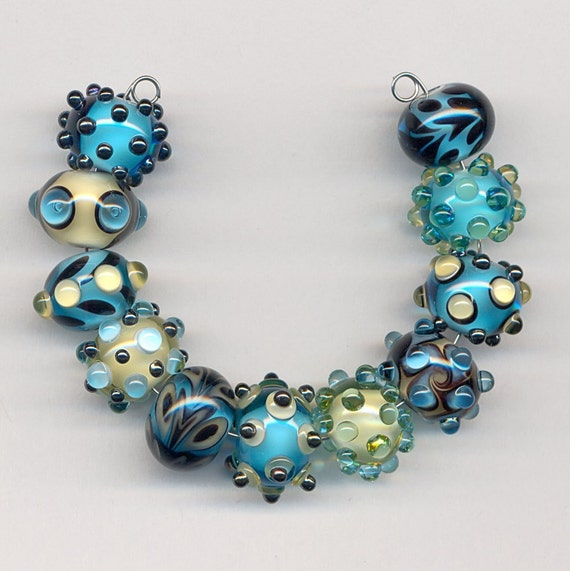 Bleu Verre Lampwork Beads - Aqua, Pale Yellow and Metallic Glass