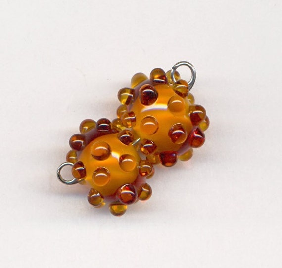 Bleu Verre Lampwork Beads - Amber Pair with Raised Dots