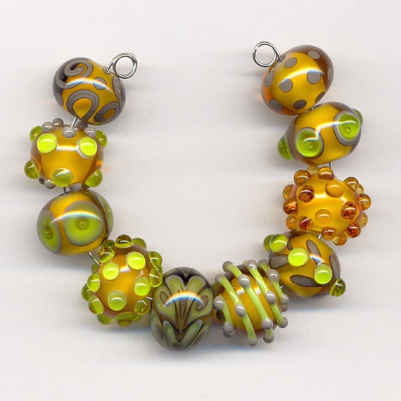 Bleu Verre Lampwork Beads - Pale Amber, Lime Green and Gray