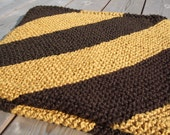 Striped Baby Blanket - ORGANIC Cotton - Large - Brown, Yellow - CLEARANCE Sale