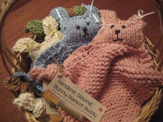 Organic Baby Blanket Toy - Bunny Buddy - 11 Colours to Choose