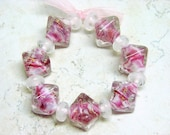 Alyssa - Pink Chunky Crystal Handmade Lampwork Beads (15), SRA
