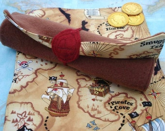 Treasure Map - Cloth Pirate Map - Adventure Map - Pirate Party - Toy Map - Pretend Play
