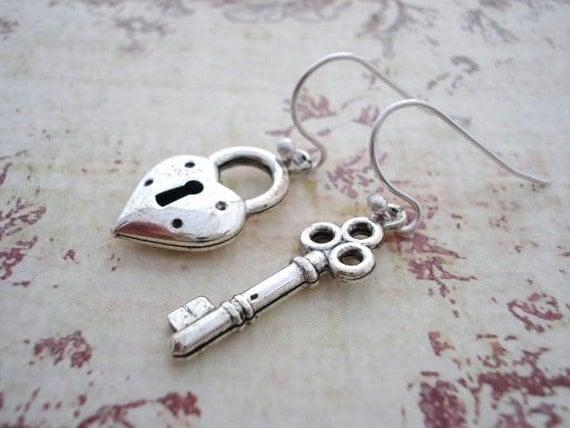 Skeleton Key and Heart Lock Earrings