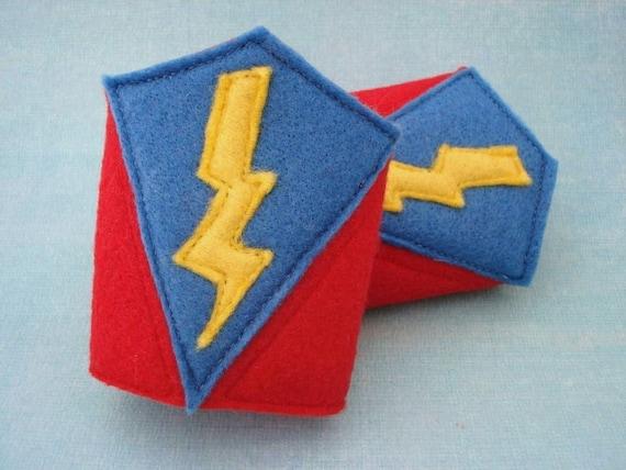 Lightning Bolt Superhero Cuffs - Felt Cuffs - Costume Accessory - Superhero Wristbands
