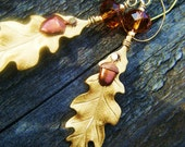 Acorn and Oak Leaf Earrings in warm gold and honey amber tones