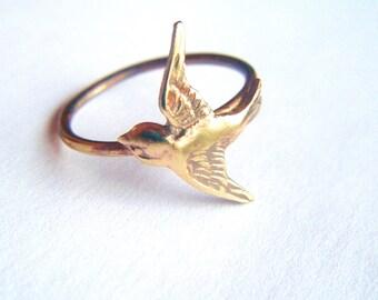 Brass Swallow Bird Ring on Antiqued Brass Band, Art Nouveau, Tattoo, Steampunk Free Shipping Worldwide