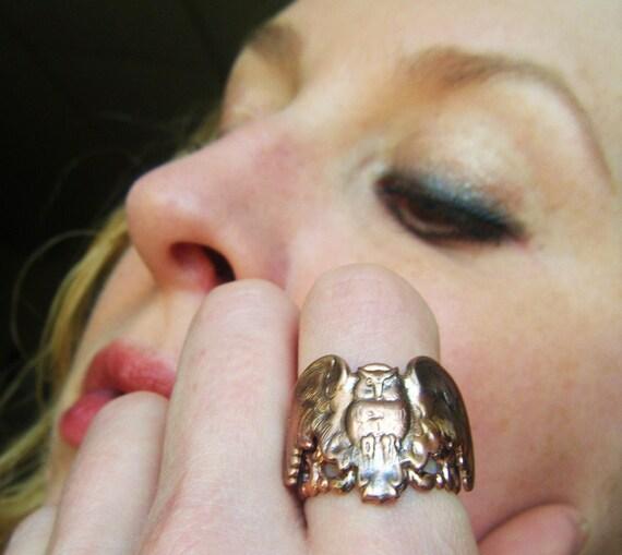 Bird Ring Brass Owl Adjustable -Art Nouveau, Tattoo, Steampunk Free Shipping Worldwide