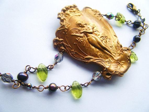Primavera Spring Goddess Bracelet -Romantic, Tattoo, Steampunk, Art Nouveau Antique Style