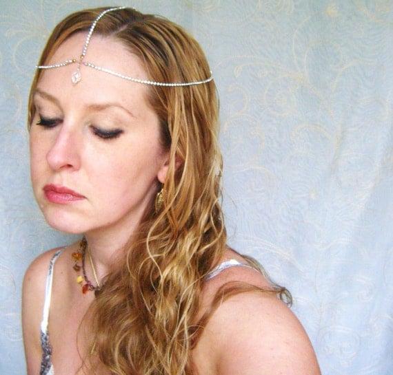 Delicate Crystals Bridal Headpiece Crown Headdress faux Diamonds Chain Tattoo Alternative Steampunk Art Nouveau