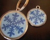 Snowflake Winter Christmas Holiday Blue Pet ID Tag for Dogs and Cats