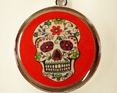 Hippy Skull With Flowers on a Bright Red Pet ID Tag Dog Tag Cat Tag