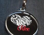 Zebra Print Heart w/ Pet's Name dog or cat Pet ID Tag Dog Tag Cat Tag