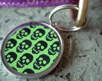 Green Skulls Pet ID Tag