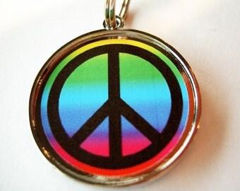 Rainbow Peace Sign Pet ID Tag