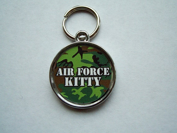 Camouflage Air Force Kitty Cat Military Pet ID Tag Personalized