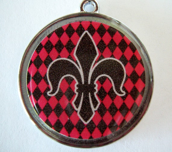 Fleur de Lis on Black and Red Houndstooth Print Pet ID Tag Dog Tag Cat Tag