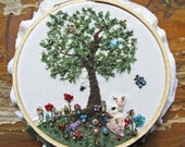 ON SALE OOAK Little Rabbit Picking Flowers embroidery hoop art