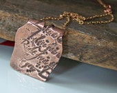 25% off COUPON IN JULY Copper Metal Clay,  Precious Metal Clay Stamped Pendant on Copper Chain, Copper Clay, Copper, Etsy Jewelry