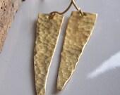 RESERVED FOR ZEVDEKOFF Brass Spear Earrings, Hammered Earrings, Metalwork Earrings, Brass Earrings, Etsy Jewelry, Etsy