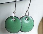 Enamel Earrings, Light Green Enamel, Avacado, Sage Enamel, Enamel, Etsy Jewelry, Green Earrings, Jewelry, Gift