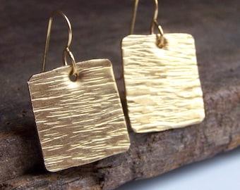 Etsy, Etsy Jewelry, Hammered Earrings, Square Earrings, Metalwork Earrings, Hand Hammered Brass Square Earrings, Gift, Gold Earrings