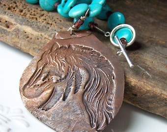 REDUCED, Etsy, Etsy Jewelry, Copper Metal Clay Horse Head with Howlite Turquoise Coins, Garnet and Copper, Copper Metal Clay