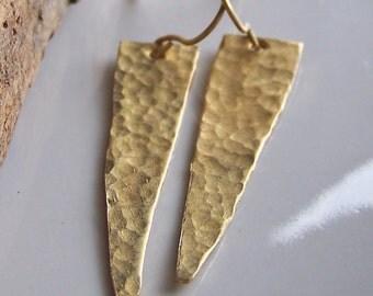 Brass Spear Earrings, Hammered Earrings, Metalwork Earrings, Brass Earrings, Etsy Jewelry, Etsy