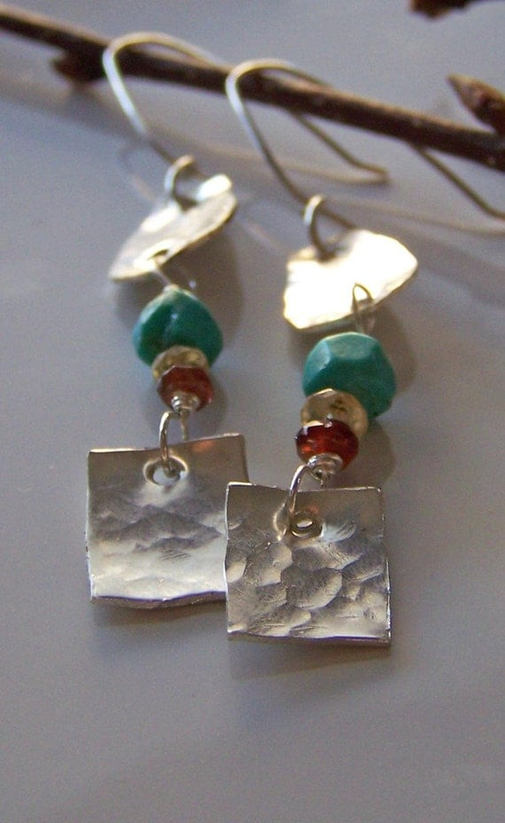 Hand Hammered Sterling Silver Earrings with Turquoise, Citrine and Garnet