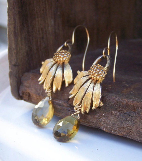 Vintage Upcycled Sunflower Gold Plated Earrings with Whiskey Quartz Briolettes