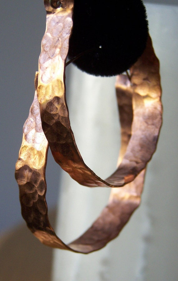 Copper Hoops Large Hand Hammered