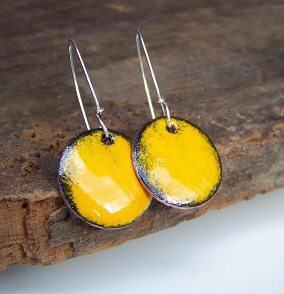 Enamel, Mustard Yellow Enamel on Copper Disc Earrings, Yellow, Etsy Jewelry, Jewelry, Gift