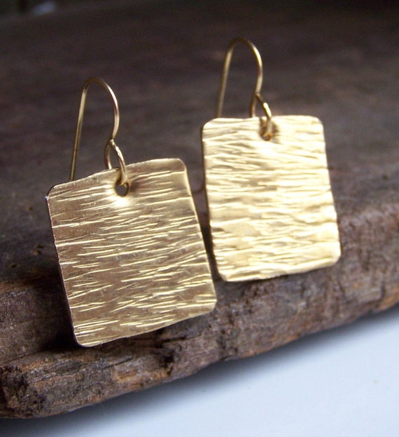 RESERVED FOR CLINT Etsy, Square Earrings, Metalwork Earrings, Hand Hammered Brass Square Earrings, Gift, Etsy Jewelry, Squares