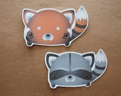 Cute Large Woodland Red Panda and Raccoon Stickers